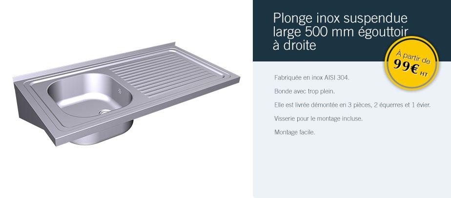 Plonge Inox Suspendue Large 500 Mm égouttoir à Droite