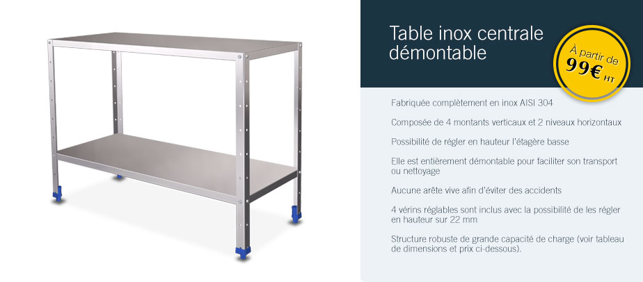 Table inox centrale démontable
