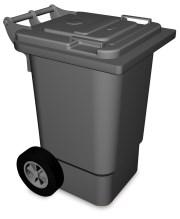 Benne à ordures en plastique avec couvercle et roulettes