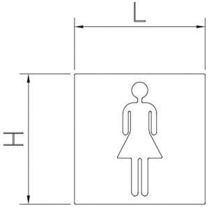 Piktogramm, Symbol aus Edelstahl: Damen WC