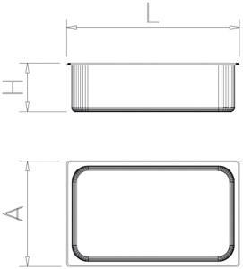 Bac gastro inox 2/1 (650x530 mm)