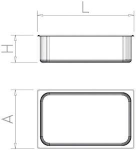 Bac gastro inox 2/3 (354x325 mm)