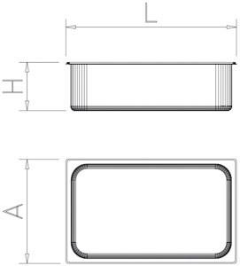 Bac gastro inox 2/4 (530x162 mm)