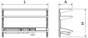 Étagère inox murale GN réglable 2 niveaux