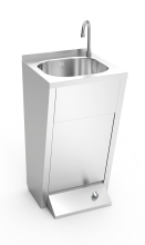 Stainless steel hand washbasin. Foot operated. Not mobile. Mixed hot and cold water.