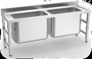 Lava-loiça inox de capacidade extra grande 2 cubas