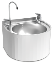 Stainless steel wall mounted round fountain