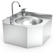 Stainless steel wall mounted corner fountain