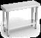 Table inox pliante avec étagère basse