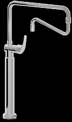 robinet mitigeur colonne avec col de cygne orientable table inox lave mains inox tag re. Black Bedroom Furniture Sets. Home Design Ideas
