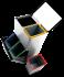 Poubelle de recyclage inox avec 4 compartiments