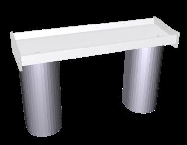 Coluna inox para lava-mãos de parede coletivo acionado por joelho