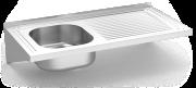 Plonge inox suspendue large 500 mm un bac et égouttoir à droite