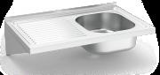 Plonge inox suspendue large 500 mm un bac et égouttoir à gauche