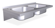 Spüle aus Edelstahl zum Aufhängen mit Wandmontage, Länge 500 mm,  2 Becken