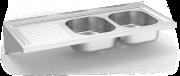 Spüle aus Edelstahl zum Aufhängen mit Wandmontage, Länge 500 mm,  2 Becken, Abtr
