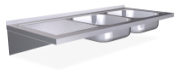 Lava-loiça suspenso c/consolas 2C,EE 1200x500x200 mm.