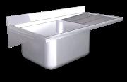 Lava-loiça suspenso c/consolas 1C, ED largura 600 mm
