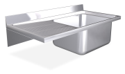 Spüle aus Edelstahl zum Aufhängen mit Wandmontage, Länge 600 mm, 1 Becken, Abtro