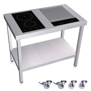 Cuisinère inox professionnelle induction 2 foyers + Teppan Yaki