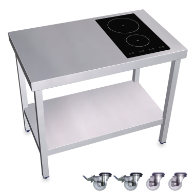 Cuisiniere Inox Professionnelle Induction 2 Foyers A Droite Table