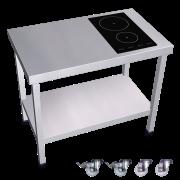 Cuisinière inox professionnelle induction 2 foyers à droite. Table inox cuisson induction.