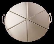 Plaque en aluminium avec poignées pour pizza 6 portions