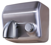 Stainless push-button operated hand dryer with nozzle