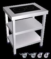 Cuisinière inox professionnelle induction portable 2 foyers