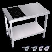 Cuisinère inox professionnelle induction portable 2 foyers à gauche