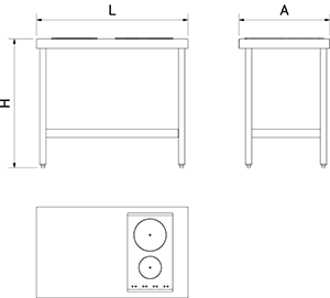 mobiler k che mit induktionskochfeld zwei kochzonen rechts lioninox. Black Bedroom Furniture Sets. Home Design Ideas