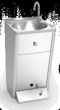 Lave-mains autonome électrique avec poussoir, eau froide.