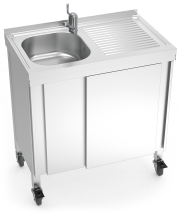 Automatic mobile sink with self-contained free standing system, hot and cold wat