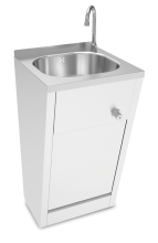 Stainless steel hand washbasin. Knee operated. Not mobile. Mixed hot and cold water.
