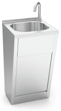 Stainless steel hand washbasin with automatic sensor. Not mobile. Mixed hot and cold water.