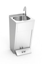 Stainless steel hand washbasin. Foot operated. Not mobile. Hot and cold water with separate drive.