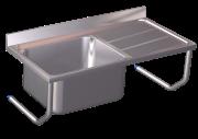Spüle aus Edelstahl zum Aufhängen mit Becken und Abtropffläche rechts, mit Wandwinkeln