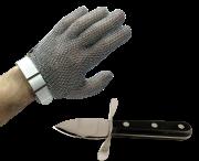 Gant en maille inox à sangle de boucher +  Ouvre huitres manuel