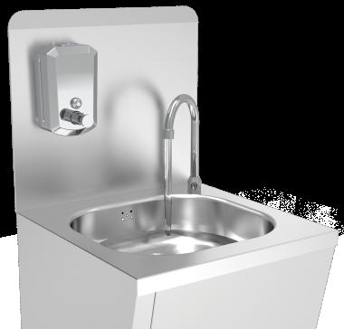 Handwaschbecken aus Edelstahl + Aufkantung + Seifenspender aus Edelstahl