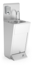 SS hand washbasin. Foot operated. Mixed hot and cold water. With backsplash and soap dispenser.