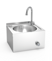 Knee-operated hot and cold-water wall mounted washbasin XS model
