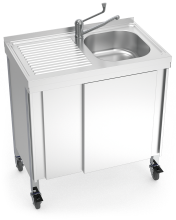 Automatic mobile sink with self-contained free standing system, hot and cold water and left drain bo