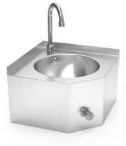 Knee-operated hot and cold-water wall-mounted corner hand washbasin XS model