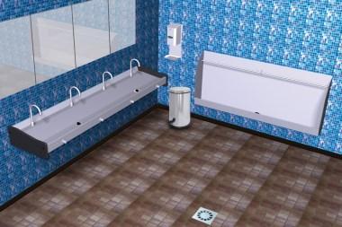 Doppelwaschbecken oder Waschrinne fürs Gewerbe mit Knieventil, Wandmontage