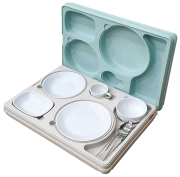 Isothermal meal distribution tray in polypropylene with lid, 5 compartments