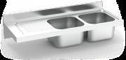 Spüle aus Edelstahl zum Aufhängen mit Wandmontage, Länge 550 mm, 2 Becken, Abtr