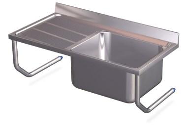 Waschbecken Edelstahl spüle aus edelstahl zum aufhängen mit becken und abtropffläche links