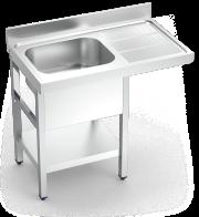 Plonge inox pour lave-vaisselle avec 1 bac et égouttoir à droite