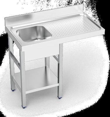 plonge inox pour lave vaisselle espaces r duits avec 1 bac et gouttoir droite lioninox. Black Bedroom Furniture Sets. Home Design Ideas