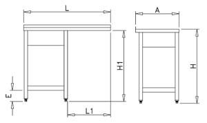 Plonge inox pour lave-vaisselle espaces réduits avec 1 bac et égouttoir à gauche
